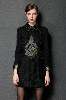 2015 plus size L-4XL spring antumn vintage women fashion black long sleeve turn down collar casual dress formal dress vestidos