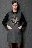 2015 brand higth quality vintage fashion women soild color printing peter pan collar casual dress antumn dress plus size L-4XL