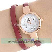 100pcs/lot Fashion Ladies 2 Wrap Rose Gold Case Leather Watch Long Strap Dress Quartz Watch Wholesale Price Casual Wristwatch