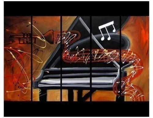 Bonito da arte moderna trompete e piano pintura a óleo decorativa(China (Mainland))