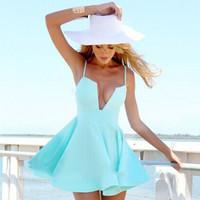 2014 ladies summer dresses sexy Woman fashion u-neck spaghetti strap beach dress vestidos casual free shipping