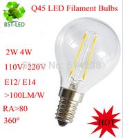 10x New 2W 4W E14 E12 220V 110V AC Q45 LED Filament Candle Bulbs CRI 80 360 Degree Free Shipping