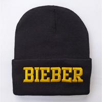 NEW Fashion BIEBER Words Beanie Knitted Hat Unisex Knitting Women and Men Hat Warm Hats Ladies Cap Hats