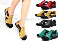 2015 women sandals flat heel rhinestone cutout elevator colorant summer casual shoes plus size women's shoes