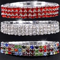 New Fashion 3 Rows Crystal Bracelet Auden Rhinestone Bling Wristband Women Jewelry 12pcs/lot - SKBTQ