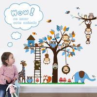 cartoon monkey wall stickers ZooYoo 1215 nursery tree wall decal animal wall art baby room home decorations