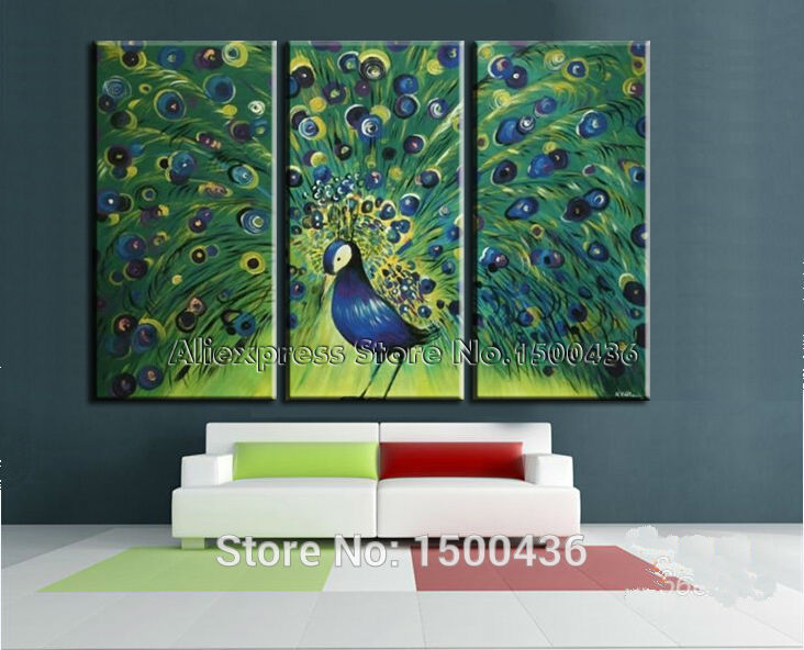 Buy Hand Painted Animal Canvas Wall Art Painting 3 Piece Modern Oil Picture Set