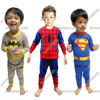 Baby Kid Toddler Infant Children Boy Superman Spiderman Batman T-shirt Top+Pants Pajamas Sleepwear Sleeper Suit Set Clothing