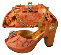 Top selling orange color wholesale Fashion ladies shoes and matching bags for wedding ,High class African design shoes and bags