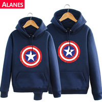 Alanes thickening pullover sweatshirt casual plus size with a hood lovers plus velvet coat
