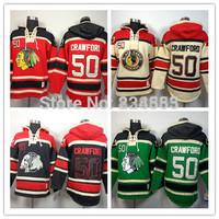 New Chicago Blackhawks Hoodies Jerseys#50 Corey Crawford Old Time Hockey Hoodies Sweatshirts Black Skull Green Red Beige M-3XL