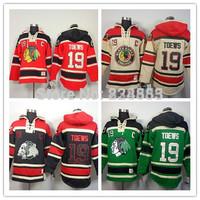 New Chicago Blackhawks Hoodies Jerseys #19 Jonathan Toews Old Time Hockey Hoodies Sweatshirts Black Skull Green Red Beige M-3XL