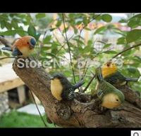 2014 New Mini creative zakka home decoration resin simulation animals resin garden ornaments bird crafts wholesale 4pcs/lot