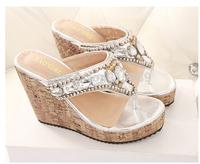Women's sandals Crystal gemstone beaded wedge sandals clogs 90908