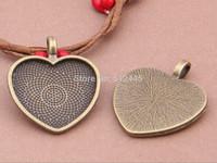 30pcs Heart Pendant Trays,25x23mm Antiqued Bronze Cabochon Setting Pendant Trays Blanks