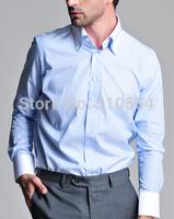 Custom made men 100%Cotton shirt Business casual men slim shirt light blue double collar shirt