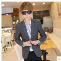 free shipping Autumn male woolen blazer school wear grey slim suit jacket male popular