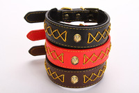 Free shipping cheap new style pet dog puppy collar luxury leather collar necklace soft comfortable collar 30pcs/lot
