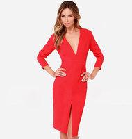 2015 Sexy Deep V neck Elegant Bodycon Vestido De Festa Casual Red Black Women Midi Dress Split Long Sleeve Party Dresses C647
