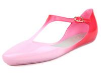 jelly sandals women flat heel melissa sandals female flat pointed toe shoes gradient color block decoration hasp women's shoes