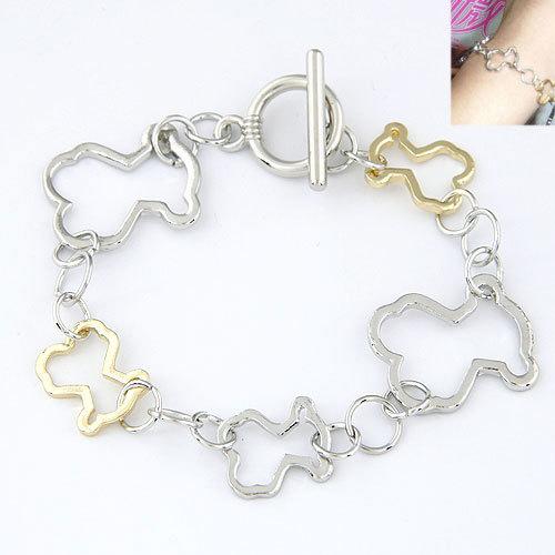 Metal Teddy Bear Shaped Bracelets Gold Silver Chain Bracelets for Women Men pulseiras femininas masculina 2014 pulseras mujer(China (Mainland))