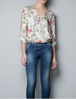 New 2014 Women Fashion Chiffon Blouses Casual V-Neck Long-Sleeve Blouses Lady Floral Printed Loose Fit Chiffon Blouses