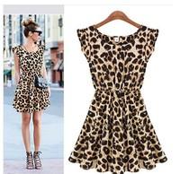 Women summer dress 2014 new casual lace party mini sale vestidos print dresses Leopard women's clothing