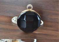 New 2015 Famous brand clutch black ball evening bag finger rings skull women bag party bags long chains women crossbody bag W243