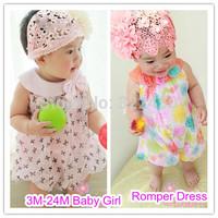 Retails (0-24M) Vitamins Newborn baby girl's Infant Romper Dress for summer sleeveless chiffon Jumpsuits for girls