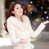 2014 large fur collar winter down coat medium-long female thickening slim women's Women