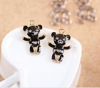 Free Shipping 50pcs/lot Drop Oil Black Cute Animal Bear Shape DIY Jewelry Bracelet Charms Gold Tone Plated Fashion Keyring Charm