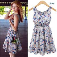 Summer Women's Sexy Flower Print Dress New 2015 Ladies Fashion Casual Cute Sleeveless Chiffon Vest Dress Income Feminine Dresses