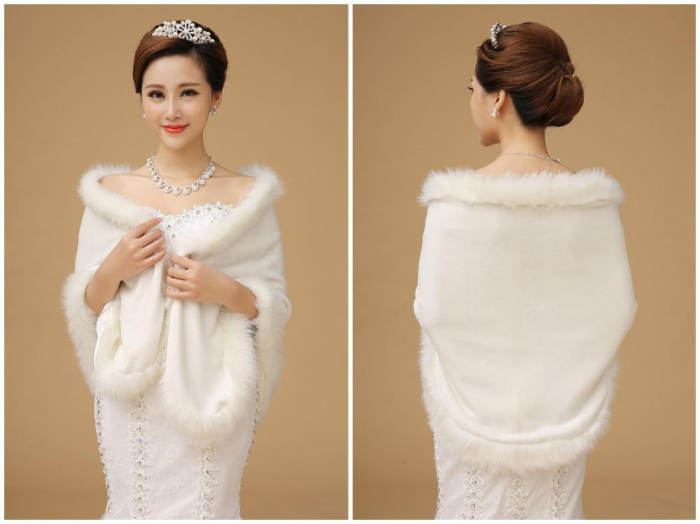 Top-Quality-2015-Wedding-Dress-Shrugs-Fur-Trim-Cape-White ...