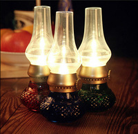 Retro Classic Blow LED Lamp USB Rechargeable Blowing Control Kerosene Candle Lamp dimmable night lamp