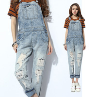 Fashion ripped hole coveralls high quality,Free Delivery loose wide plus size W26-W31 female denim jeans overalls women