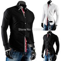 New Arrival ! 2014 Fashion Mens Special Ribbon Edge Designer Long Sleeve Slim Fit Social Shirt Men Casual Shirts 2 Colors M-XXL