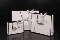 As original  Brand design Classical white Retail Gift Shopping paper bag/handbag gift bag  with Silk bow S/M/L