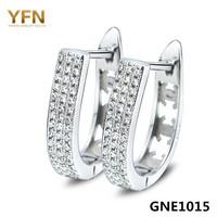 GNE1015 Genuine 925 Sterling Silver Jewelry Micro Pave Cubic Zircon U Style Hoop Earrings Width 4.2mm Valentine's Gift For Women