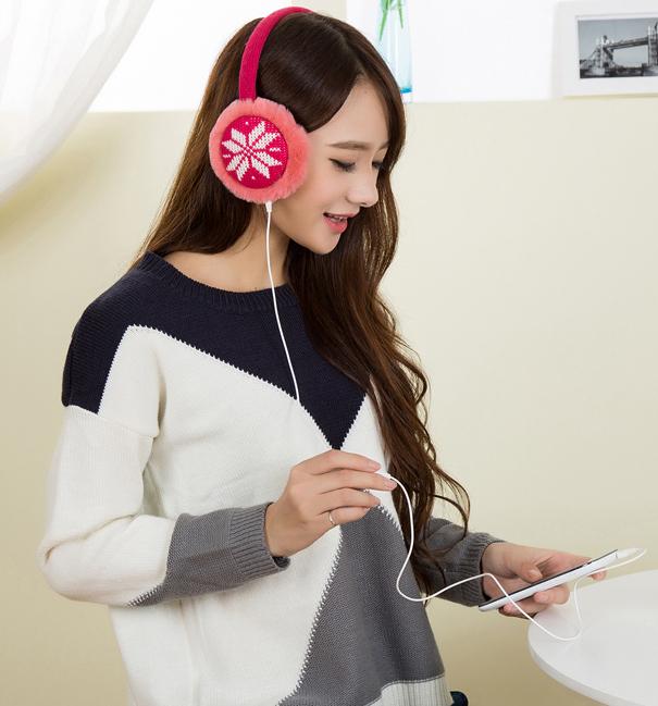 Plush Female Winter Earmuffs Thermal Earmuff Fur Headphones Ear Muff Music Earphones Ear Warmer Ear Protector Free Shipping(China (Mainland))
