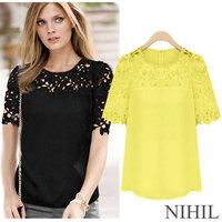 XXXXL Plus Size White Chiffon Blouse Tops For Women Blouses Shirt Women Blouse O-Neck Sheer Lace blouse blusas femininas 2014 66