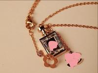 Brand Jewelry Rose Gold Chain Crystal 14K Titanium Perfume Women Choker Necklace allergy free