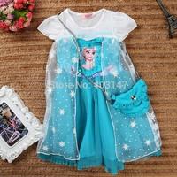 Frozen Baby Girls Cacual Charactor Summer Dress roupas Vestidos Infantis De Meninas Girl Dresses short Sleeves Costumes with bag