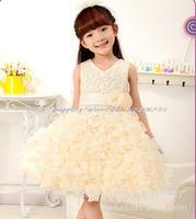 2015 New Girls 3D Floral Dress V-neck Party Princess Flower Tutu Veil dress Kids evening Wedding Formal Clothing