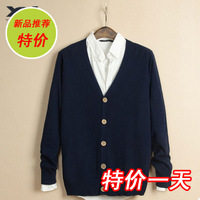free shipping Bergdorf stanwick male sweater slim V-neck cardigan sweater male spring and autumn thin