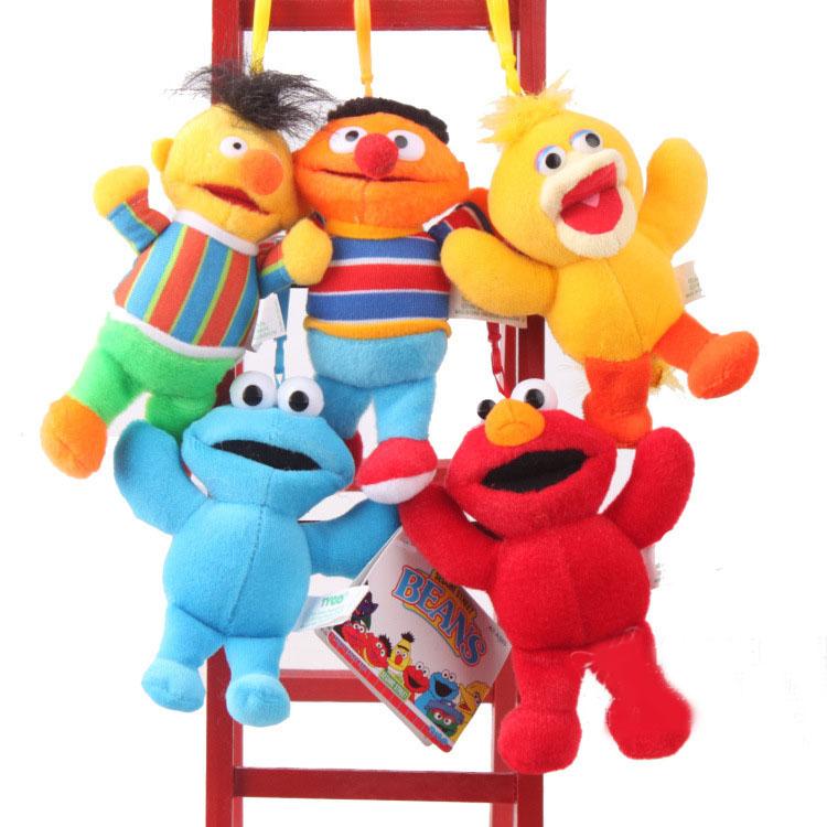 "5pcs/lot Sesame Street Elmo Big Bird Erine Bert Cookie Monster Stuffed Plush Dolls Toys Pendant Keychain Phone Chains -5""(China (Mainland))"