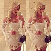 Hot Sale Women Dress Autumn 2015 European Sexy Spaghetti Strap Show Shouders Flare Long Sleeve Ruffles Hem White Lace Dress 1110