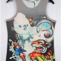NEW!!! Fashion 3D printing Bisexual Vest Singlet Underwear Tank Top Fun T-shirt 4 Sizes