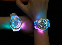 Retail Free Shipping New Personality Luminous LED Watches Fashion Glow In Night Watch Gifts For Lovers Factory Direct Price