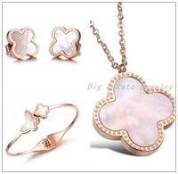 Fortunate Four Leaf Clover Rose Gold Stainless Steel Earrings&Pendant&Cute Butterfly Bracelet Natural Shell Women's Jewelry Set
