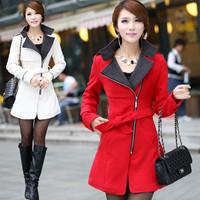 New Winter Autumn Casacos Femininos 2014 Women Coat Full Sleeve Overcoat Slim Solid Long Women Coats Zipper Sashes